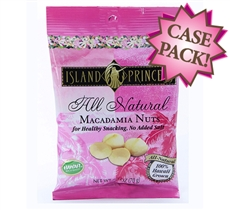All Natural No Salt Added Macadamia Nuts snack bags (FS Case of 24 Bags)